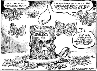 Eugenics cartoon - Candle and Moths